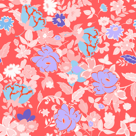 Abstract seamless pattern with isolated hand drawing flowers on red background. Stok Fotoğraf - 58798875