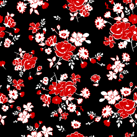 Abstract seamless pattern with isolated red and white hand drawing flowers on black background.