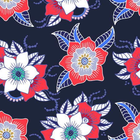 orange roses: Seamless floral background.Colorful flowers and leafs on dark blue background.