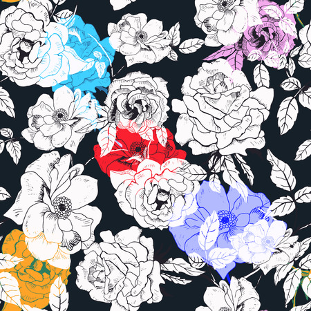 fall fashion: Abstract seamless pattern with isolated hand drawn roses.