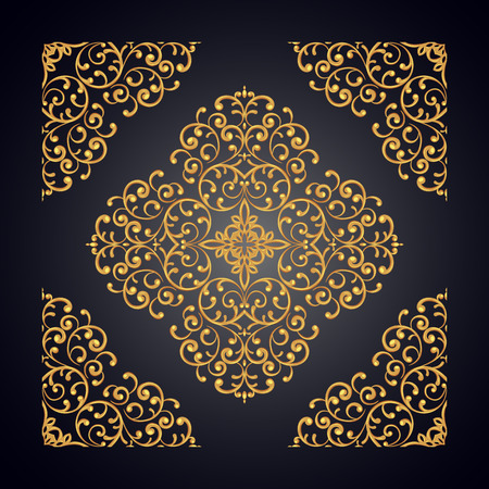 gold lace: Elegant background with gold lace ornament on black Stock Photo