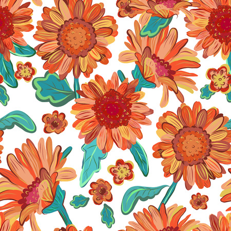 Seamless floral  background. Isolated orange flowers with leafs. Vector.