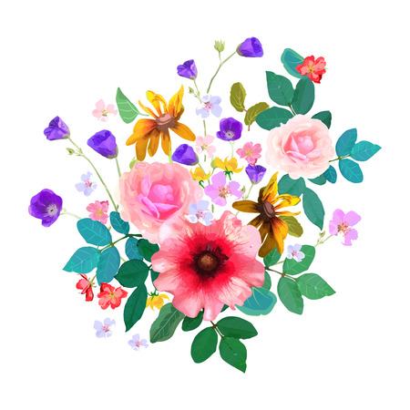 ilustration and painting: Hand drawn floral bouquet with isolated flowers and leafs. Vector illustration. Design for cards, invitations.
