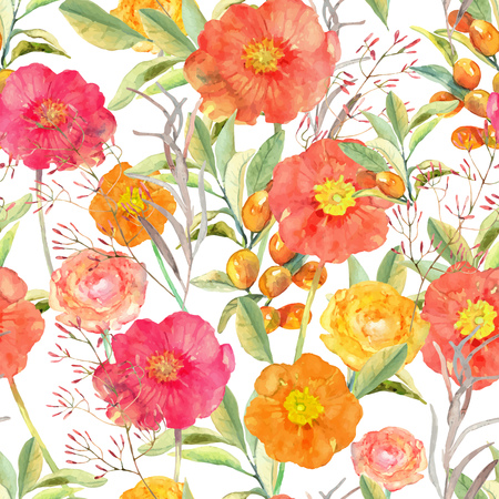Vector illustration of floral seamless. Hand drawn beautiful colorful flowers in watercolor. Illusztráció