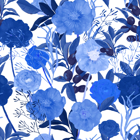 Vector illustration of floral seamless. Hand drawn beautiful blue flowers in watercolor. Design for print, wallpaper, textile.