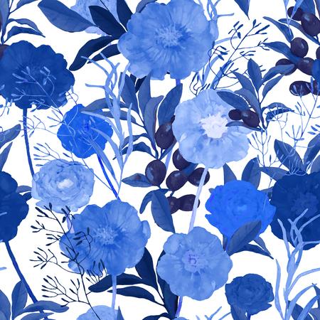 Illustrazione vettoriale di seamless floreale. Disegno a mano bella blu fiori in acquarello. Design per la stampa, carta da parati, tessile.