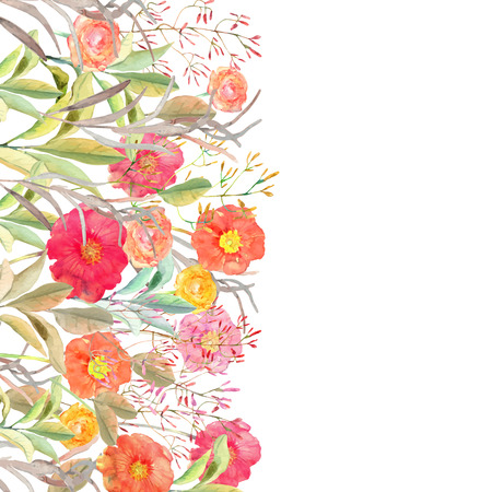 Vector floral border. Isolated roses and wild flowers drawn watercolor. Design for invitation, wedding or greeting cards.