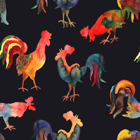 Vector seamless pattern with fire cock on black background. Chinese calendar Zodiac for 2017 New Year of rooster. Isolated bird drawn in watercolor.