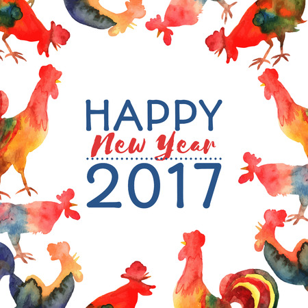 chinese watercolor: Vector frame with fire cocks and text Happy New Year 2017. Chinese calendar Zodiac for 2017 New Year of rooster. Editable isolated elements.
