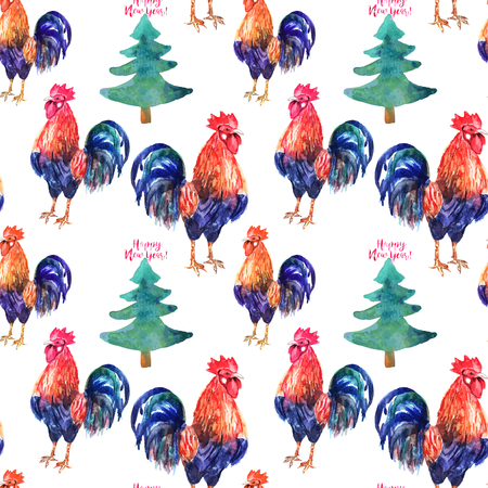 Vector watercolor fire cock and christmas green tree with text Happy New Year . Chinese calendar Zodiac for 2017 New Year of rooster. Isolated bird and tree in watercolor.