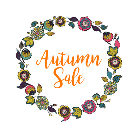 Vector floral wreath with text Autumn Sale. Colorful floral collection with leafs and flowers, hand drawn. Design for invitation, wedding or greeting cards.