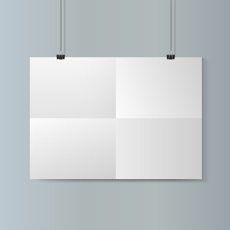 hang up: Empty   horizontal white paper poster mockup with traces of the folded sheet and paper clip on grey wall. Illustration