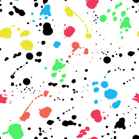 seamless pattern with colorful ink. Editable isolated elements. Spray brushes for your design. Watercolor hand painted elements.