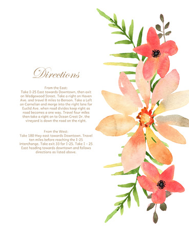 Vector wedding invitation with floral background. Hand drawn watercolor flowers with place for your text.