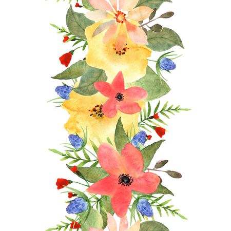 Seamless floral border. Roses and wild flowers drawn watercolor. Design for invitation, wedding or greeting cards and print.