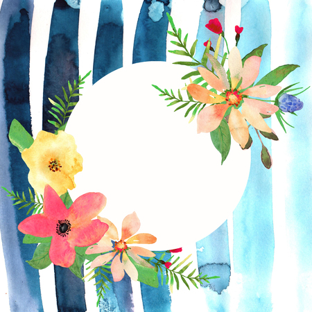 wedding backdrop: Floral greeting card with colorful flowers and blue strips drawn watercolor. Circle frame for your text. Stock Photo