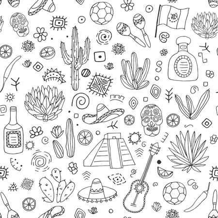 kukulkan: Doodles seamless pattern of Mexico - Temple of Kukulkan, tequila, sombrero, agave, maracas and other culture elements. Vector illustration. Illustration