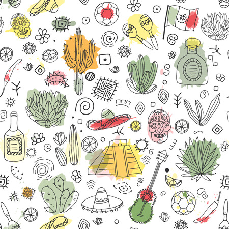 kukulkan: Doodles seamless pattern of Mexico - Temple of Kukulkan, tequila, sombrero, agave, maracas and other culture elements with imitation of watercolor. Vector illustration.