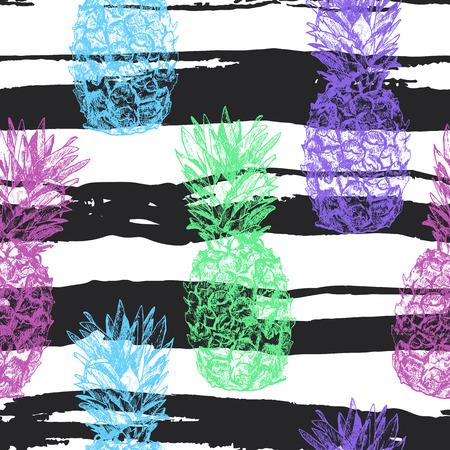 Seamless à l'ananas tiré par la main dans le style croquis, isol Banque d'images - 69727765