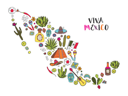 Doodles set of Mexico in geographic map - Temple of Kukulkan, tequila, sambrero, agave, maracas and other culture elements. Vector illustration. Stock Illustratie