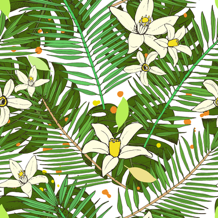 Floral seamless pattern. Collection with tropical leaves and flowers in sketch style. Vector illustration. Illustration