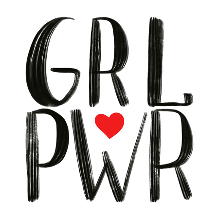 Power girl black phrase with red heart. Illustration