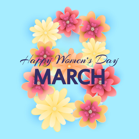 8 March. Mothers, Womens day greeting card with isolated bloomi