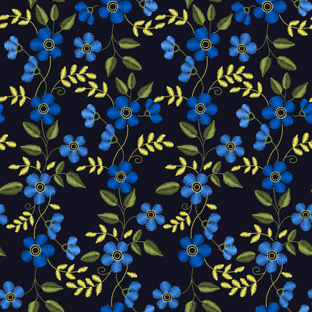 Floral Embroidery seamless pattern with blue flowers.