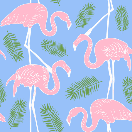 Abstract hand painted seamless animal background.Isolated pink Flamingo birds with palm leaves. Vector illustration. Illustration