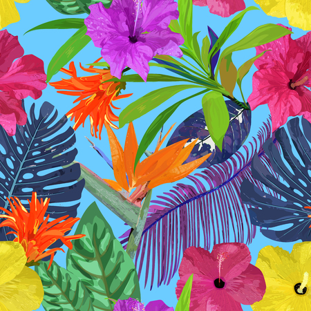 Floral seamless pattern. Background with isolated colorful hand Illustration