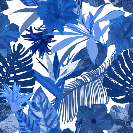 Floral seamless pattern background with isolated blue hand drawn.