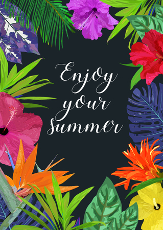 Floral card with frame for text Enjoy your summer. Isolated colo Illustration
