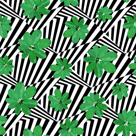 Floral seamless pattern. Background with isolated green hand dra