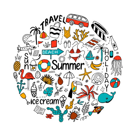 Background in circle with summer set of isolated cute colorful a