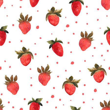Seamless pattern with isolated hand drawn red strawberry.  Illus