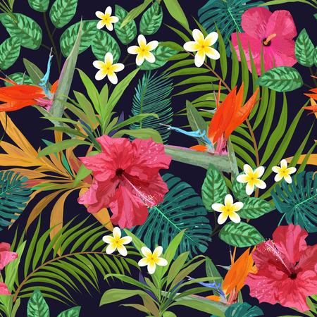 Tropical flowers seamless pattern colorful illustration Illustration