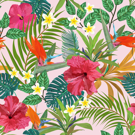 Tropical leaves and flowers seamless pattern colorful isolated h