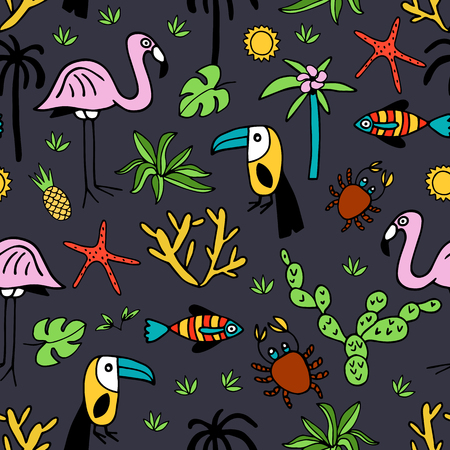 Seamless pattern with summer set of isolated cute images in doodle style.  Line art illustration with things for beach and holiday. Vector.