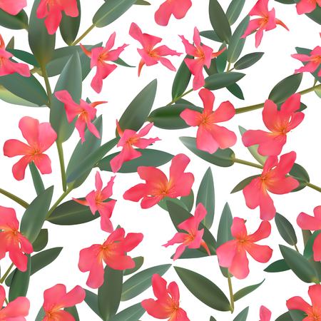Thyme leaf green seamless pattern Vector isolated set of leaves and red tropical flowers Branch of plants  向量圖像