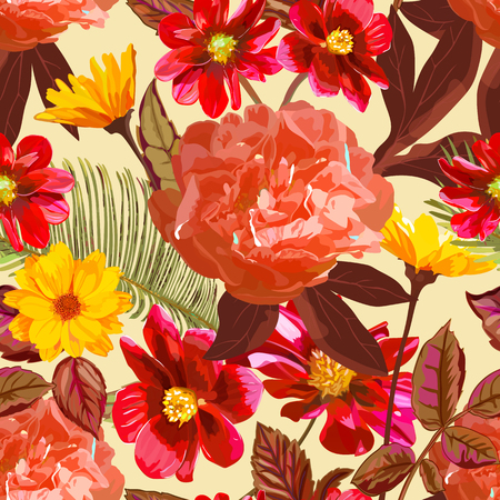 Seamless pattern with yellow chrysanthemums and red peonies flow