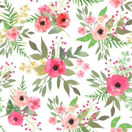 Watercolor floral seamless pattern with colorful hand drawn pink Stock Photo