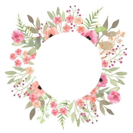 Flowers frame circle roses. Card on white backdrop. Hand drawn f
