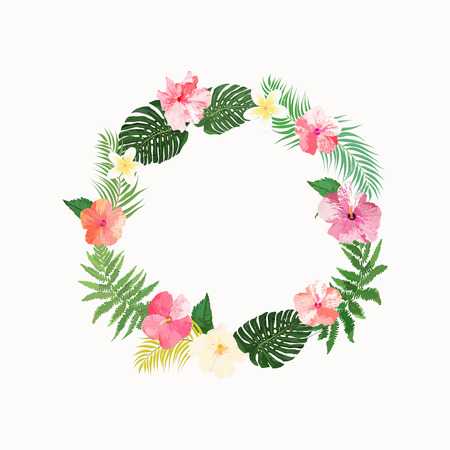 Flowers wreath. Floral tropical collection with beautiful flowers and leaves, hand drawn vector. Design for invitation, wedding or greeting cards.