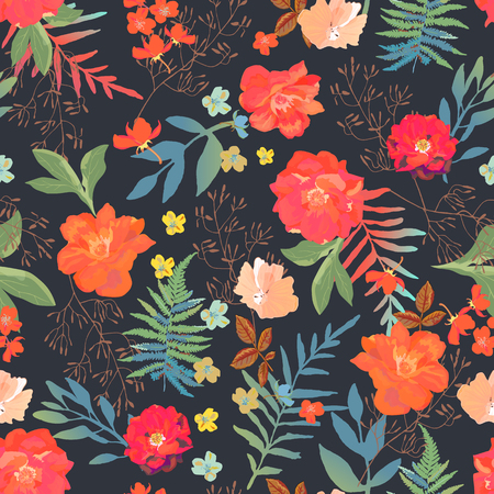 Flowers seamless pattern hand drawn for print design. Vector modern pattern with colorful roses, ferns on black background.