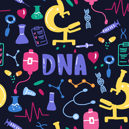 Dna lettering seamless pattern. Vector scientific medical background. Colorful hand drawing text with icons on black blue
