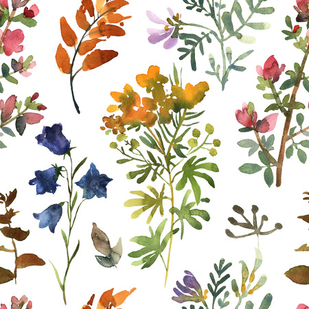 Seamless pattern with watercolor flowers hand drawn colorful beautiful floral set with yellow pink red blue blossom plant