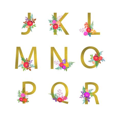 Poster with golden letters J, K, L, M, N, O, P, Q, R. Floral botanical flowers. Decorative alphabet vector font with bouquet on white background. Textile and card design. Illusztráció