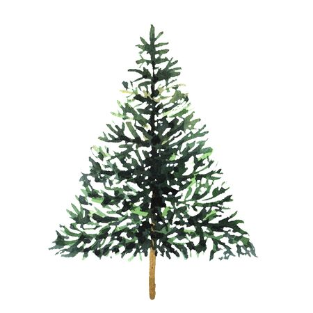 Watercolor green Christmas tree on white background. Isolated hand drawn elements for prints, cards. Stock fotó