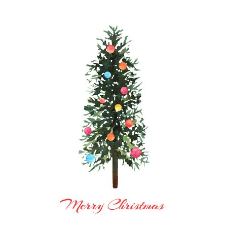 Watercolor green tree with colorful balls on white background. Design for Happy New Year and Christmas print