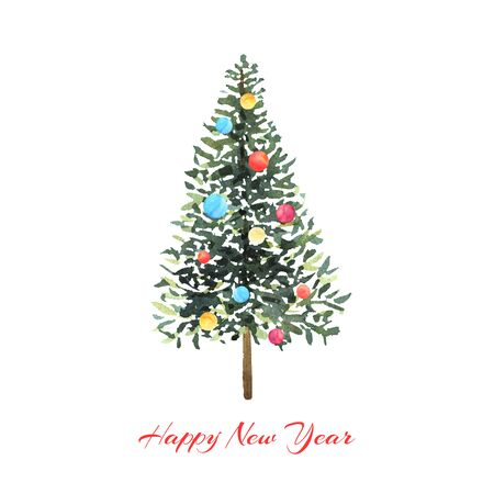 Watercolor green tree with colorful balls on white background. Design for Happy New Year and Christmas print.